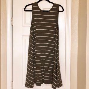 Olive Striped Swing Tank Dress